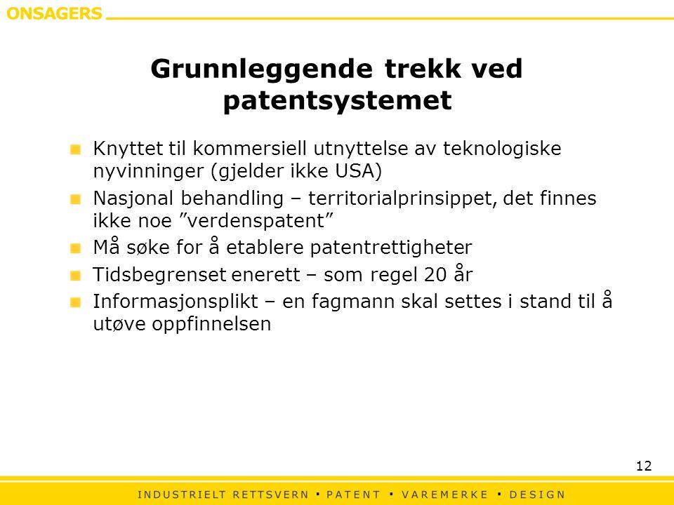 Grunnleggende trekk ved patentsystemet