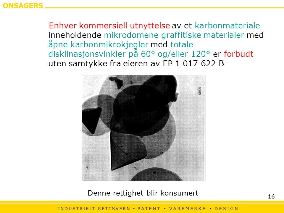 Enhver kommersiell utnyttelse av et karbonmateriale inneholdende mikrodomene graffitiske materialer med åpne karbonmikrokjegler med totale disklinasjonsvinkler på 60° og/eller 120° er forbudt uten samtykke fra eieren av EP 1 017 622 B