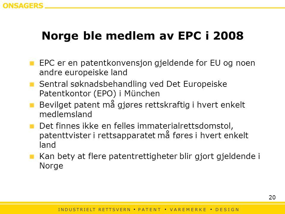 Norge ble medlem av EPC i 2008