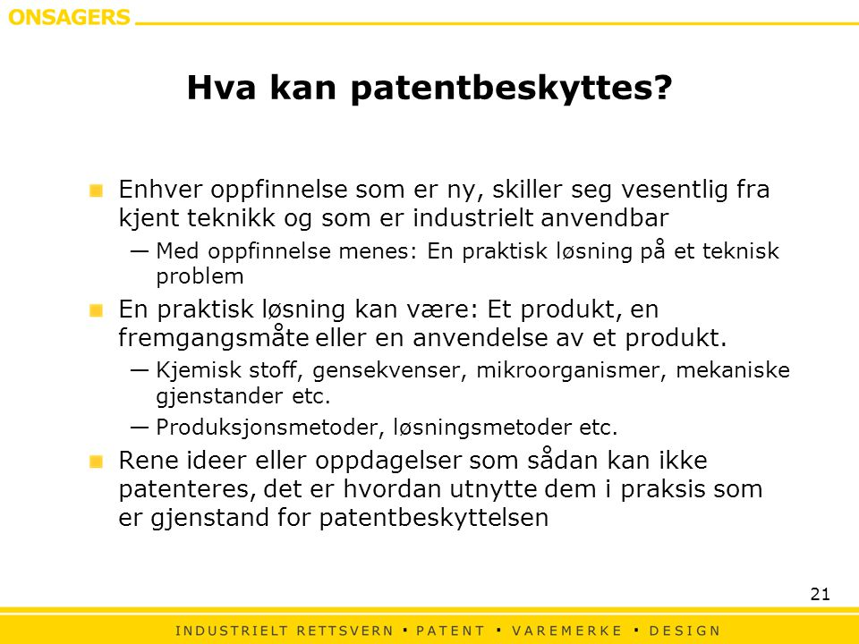 Hva kan patentbeskyttes