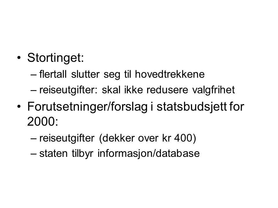 Forutsetninger/forslag i statsbudsjett for 2000: