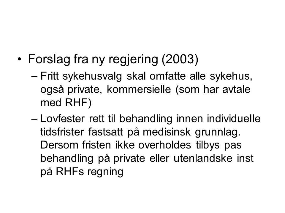 Forslag fra ny regjering (2003)