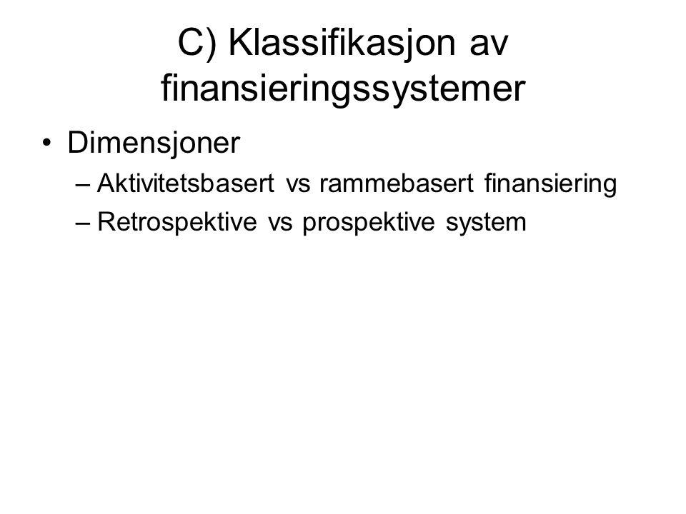 C) Klassifikasjon av finansieringssystemer