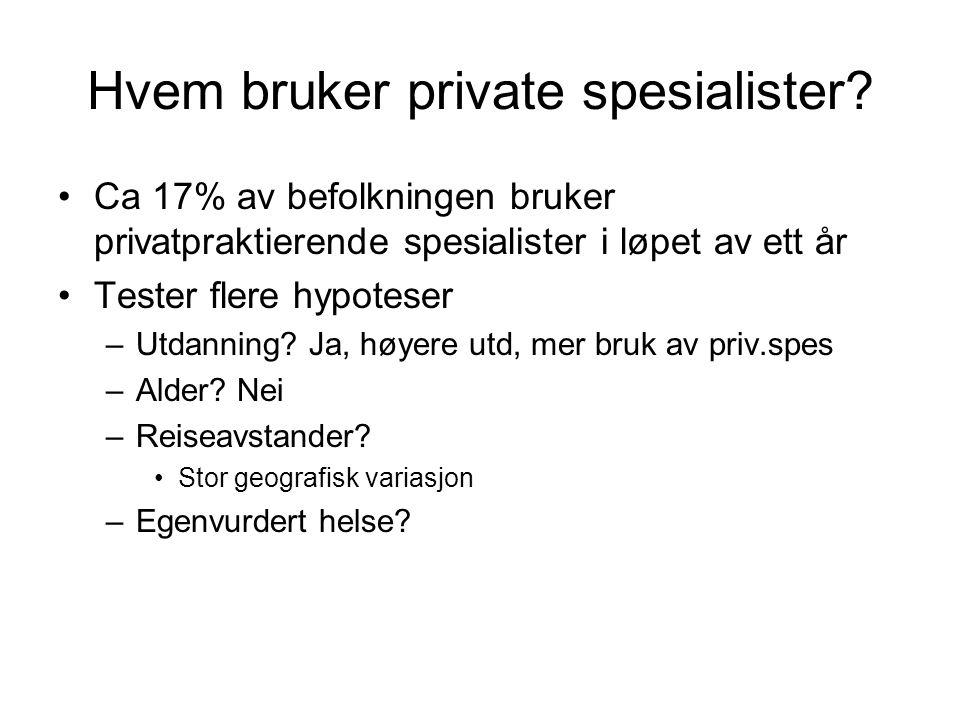 Hvem bruker private spesialister