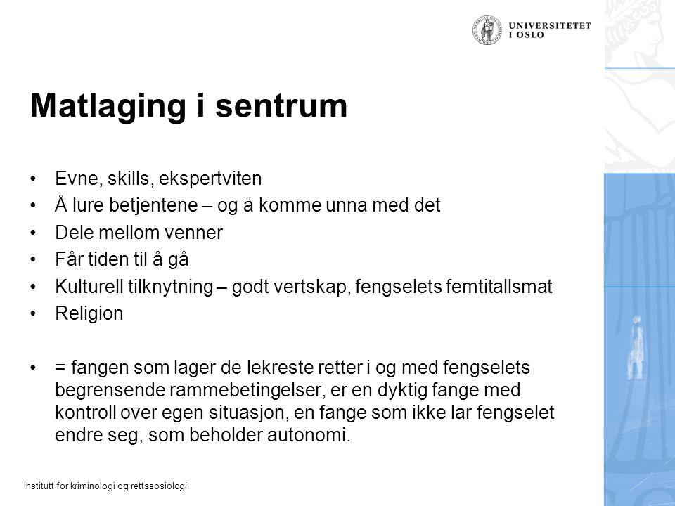 Matlaging i sentrum Evne, skills, ekspertviten
