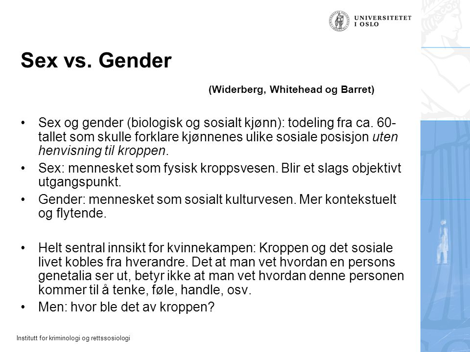 Sex vs. Gender (Widerberg, Whitehead og Barret)