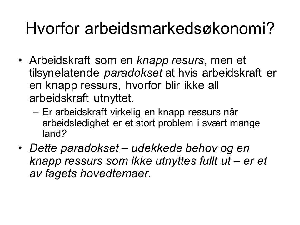 Hvorfor arbeidsmarkedsøkonomi