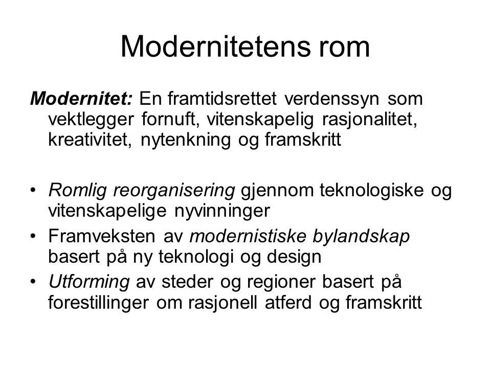 Modernitetens rom Modernitet: En framtidsrettet verdenssyn som vektlegger fornuft, vitenskapelig rasjonalitet, kreativitet, nytenkning og framskritt.