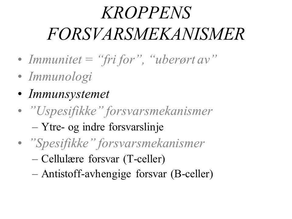 KROPPENS FORSVARSMEKANISMER