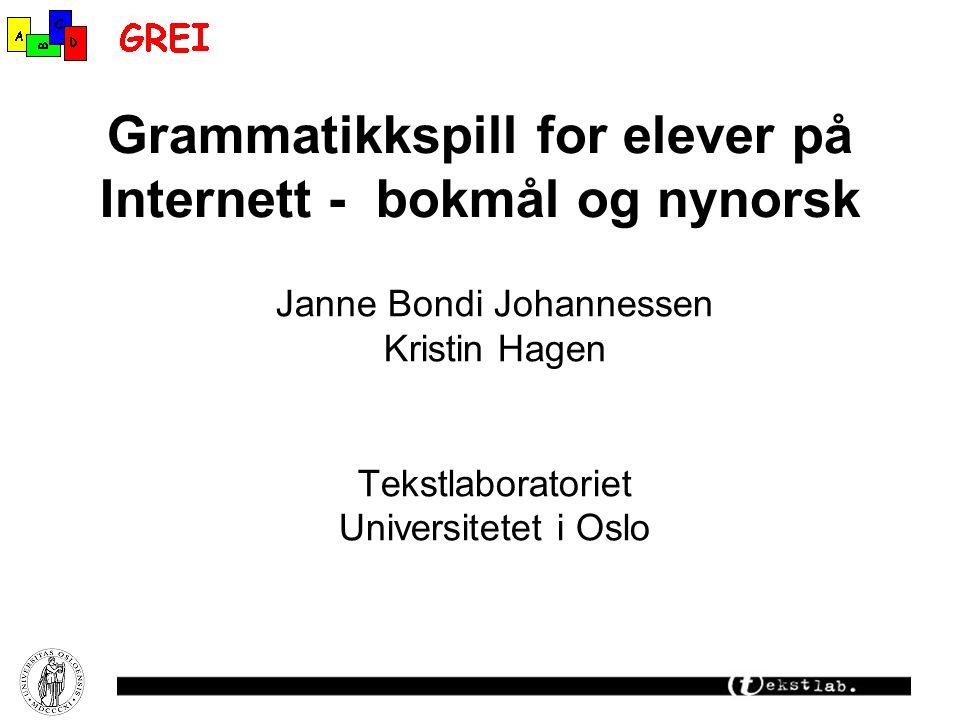 Grammatikkspill for elever på Internett - bokmål og nynorsk
