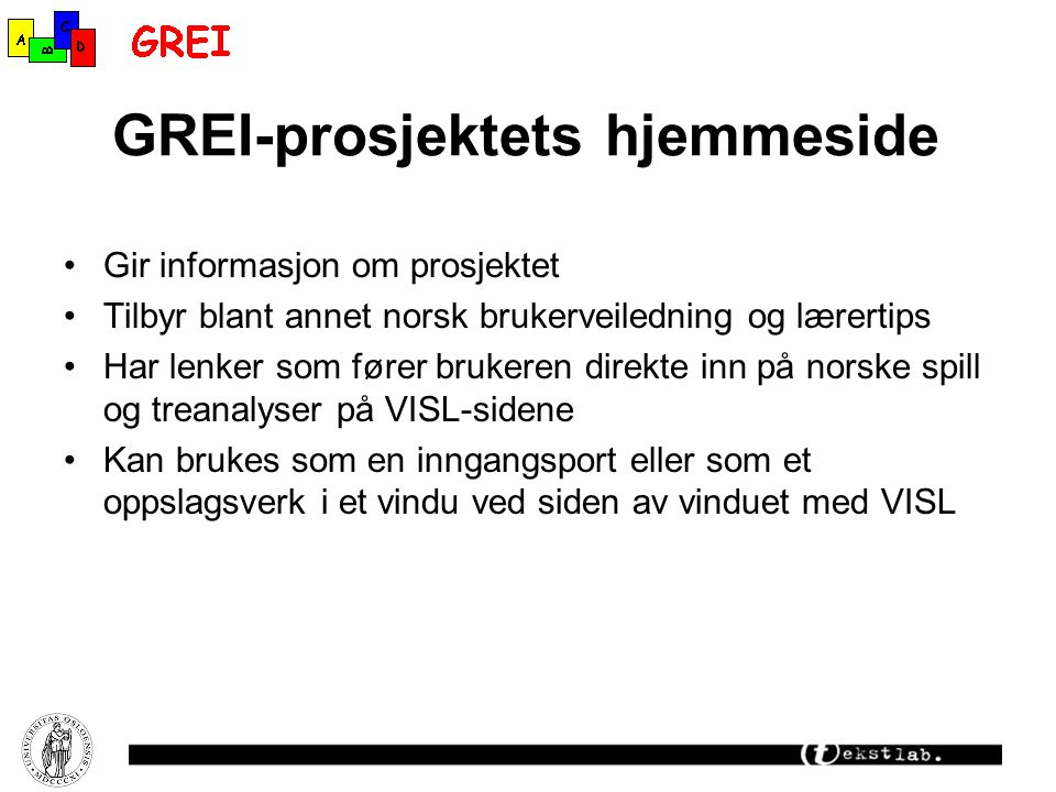 GREI-prosjektets hjemmeside