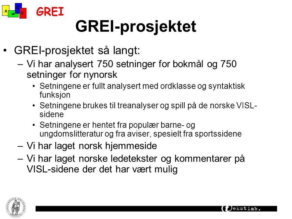 GREI-prosjektet GREI-prosjektet så langt: