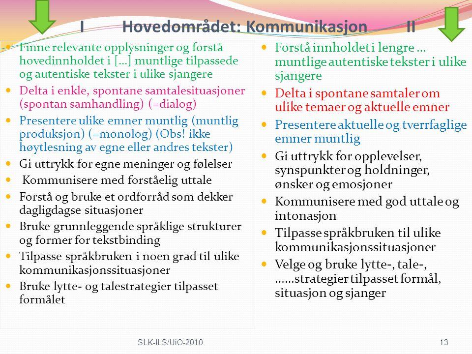I Hovedområdet: Kommunikasjon II
