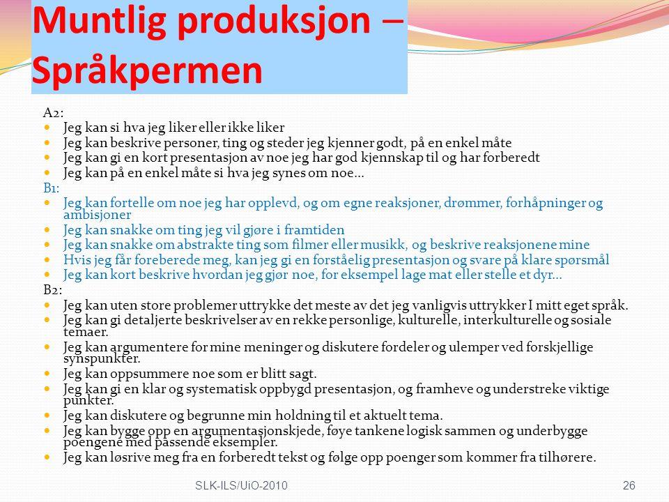 Muntlig produksjon – Språkpermen