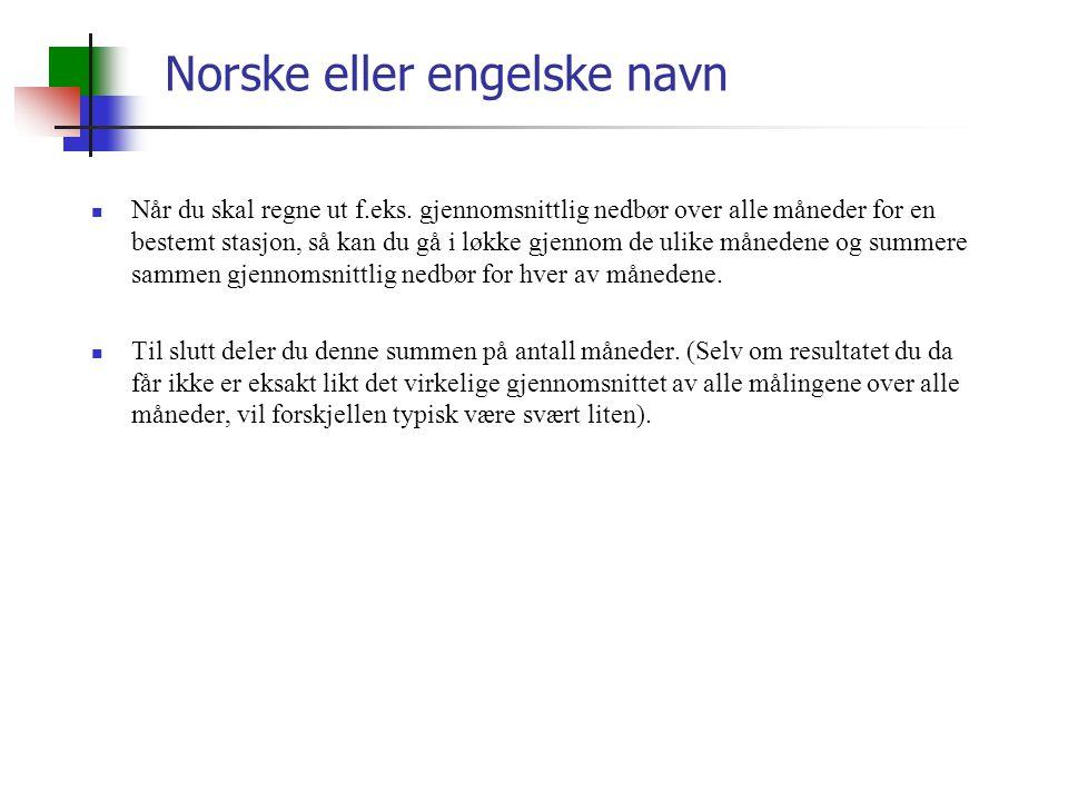 Norske eller engelske navn