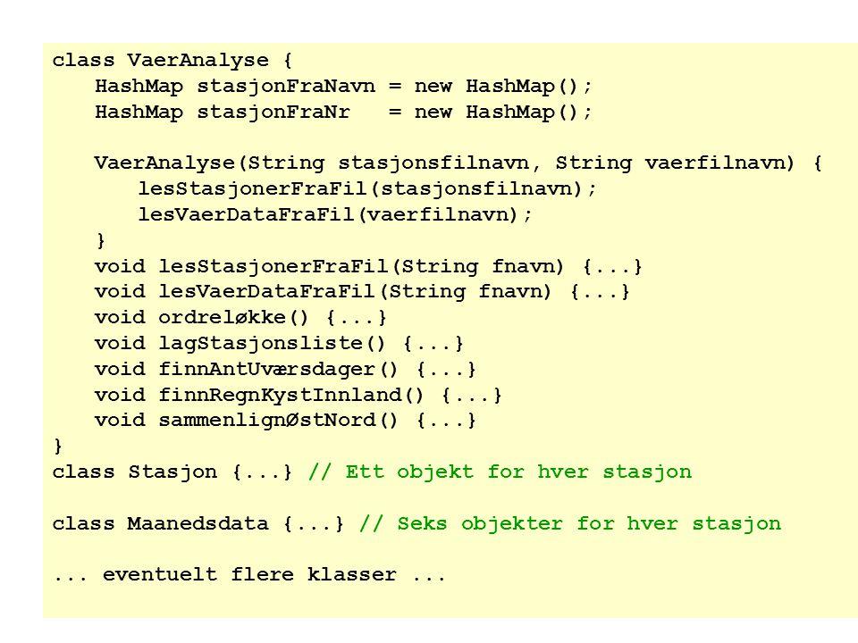 class VaerAnalyse { HashMap stasjonFraNavn = new HashMap(); HashMap stasjonFraNr = new HashMap();