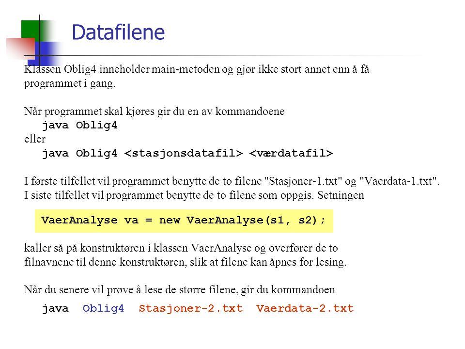 Datafilene Klassen Oblig4 inneholder main-metoden og gjør ikke stort annet enn å få. programmet i gang.