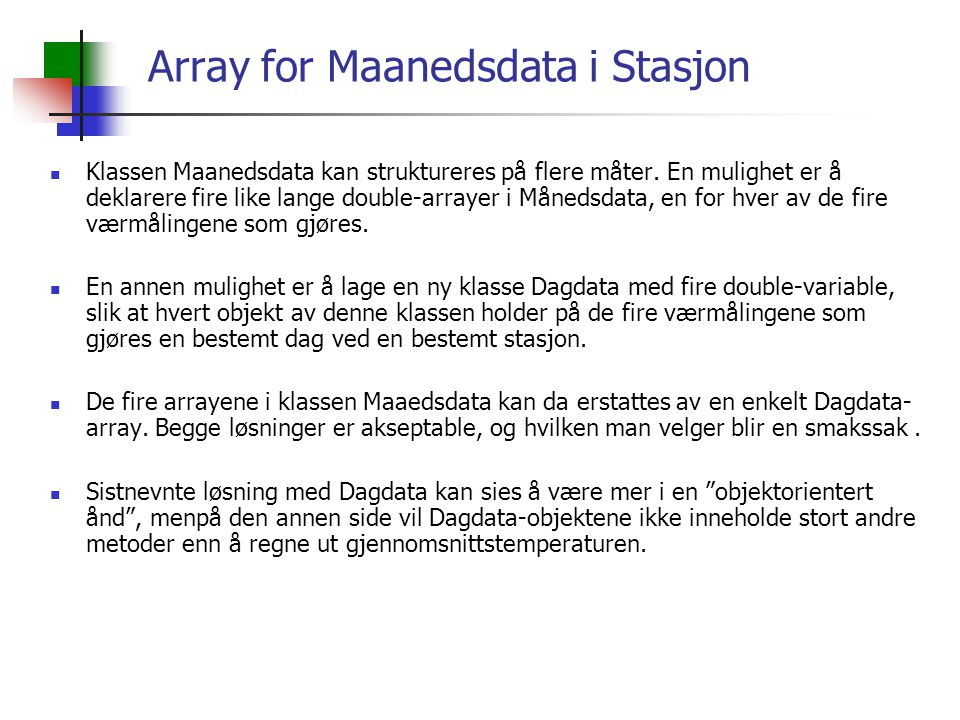 Array for Maanedsdata i Stasjon