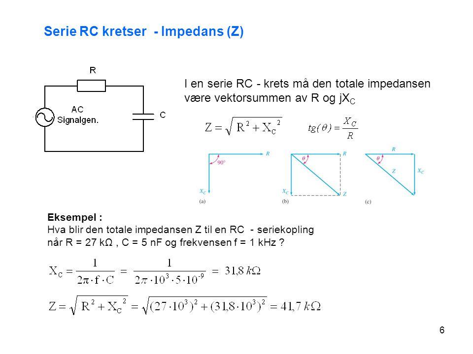 Serie RC kretser - Impedans (Z)