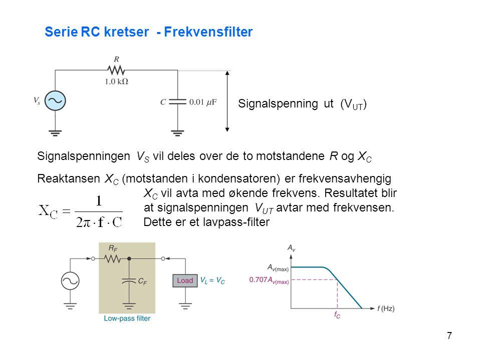 Serie RC kretser - Frekvensfilter