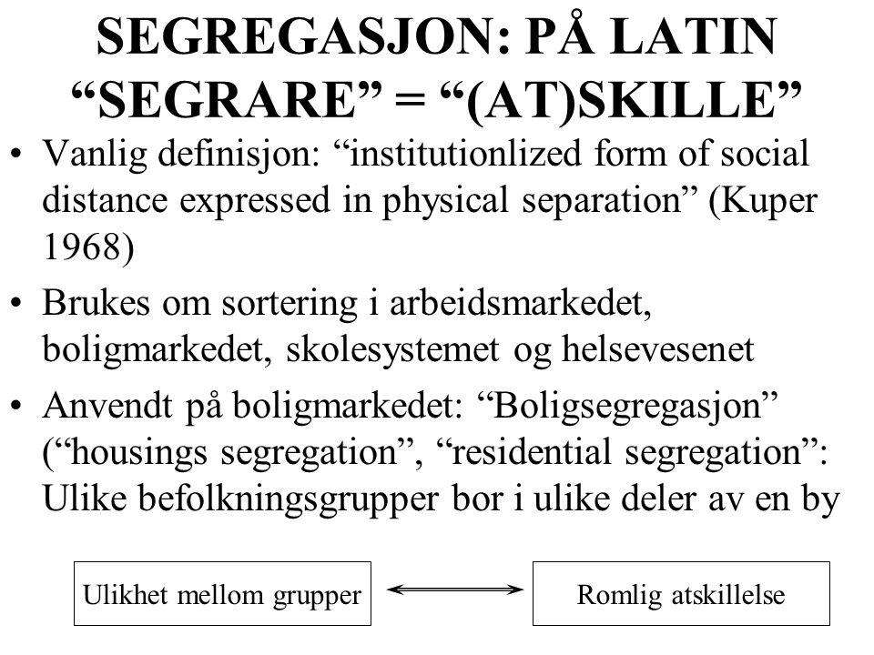 SEGREGASJON: PÅ LATIN SEGRARE = (AT)SKILLE
