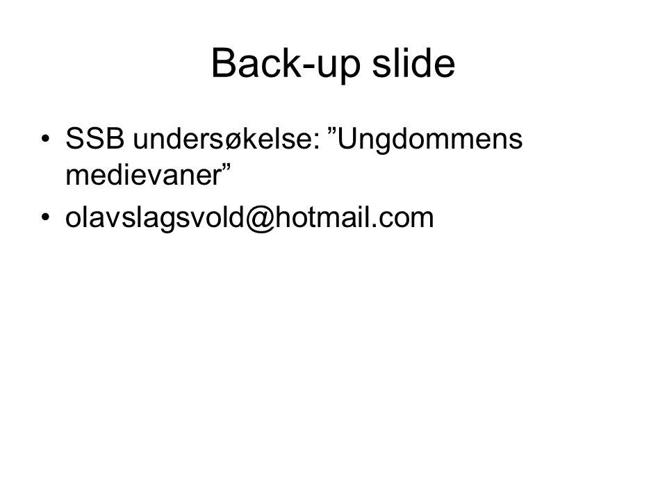 Back-up slide SSB undersøkelse: Ungdommens medievaner