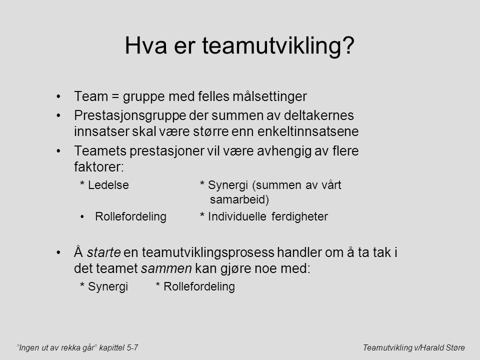 Hva er teamutvikling Team = gruppe med felles målsettinger