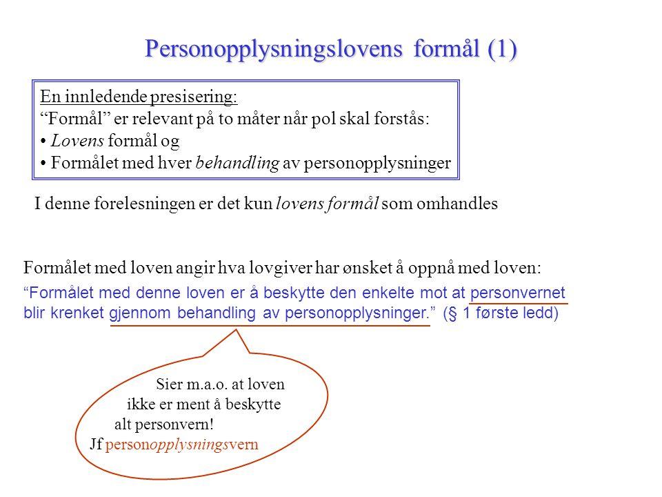 Personopplysningslovens formål (1)