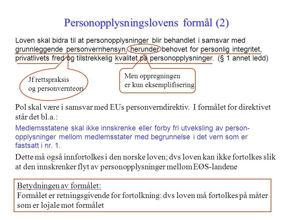 Personopplysningslovens formål (2)