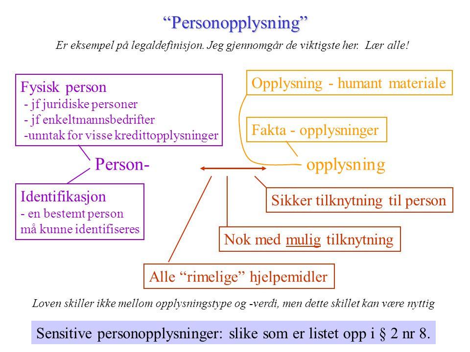 Personopplysning Person- opplysning Opplysning - humant materiale