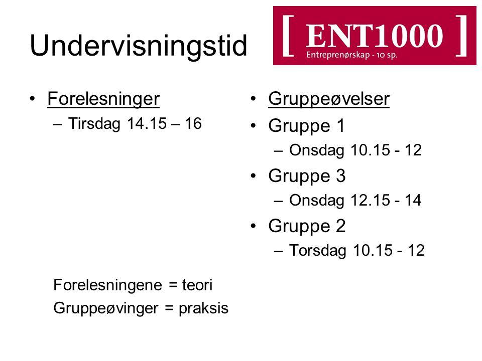 Undervisningstid Forelesninger Gruppeøvelser Gruppe 1 Gruppe 3