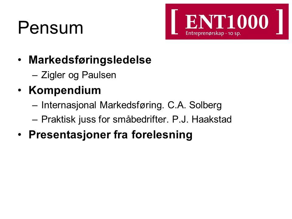 Pensum Markedsføringsledelse Kompendium Presentasjoner fra forelesning