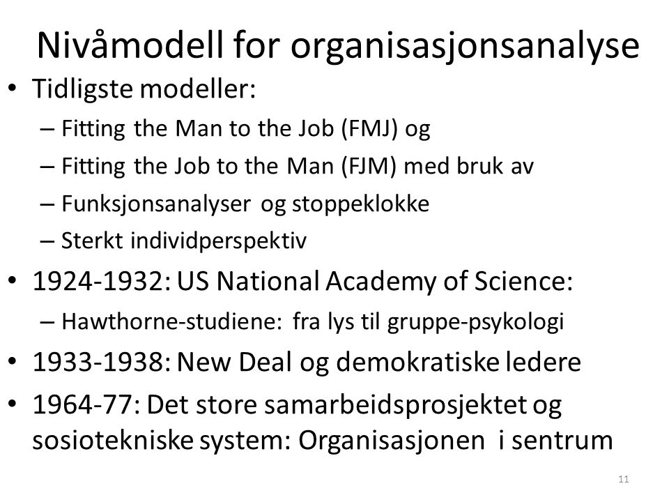 Nivåmodell for organisasjonsanalyse