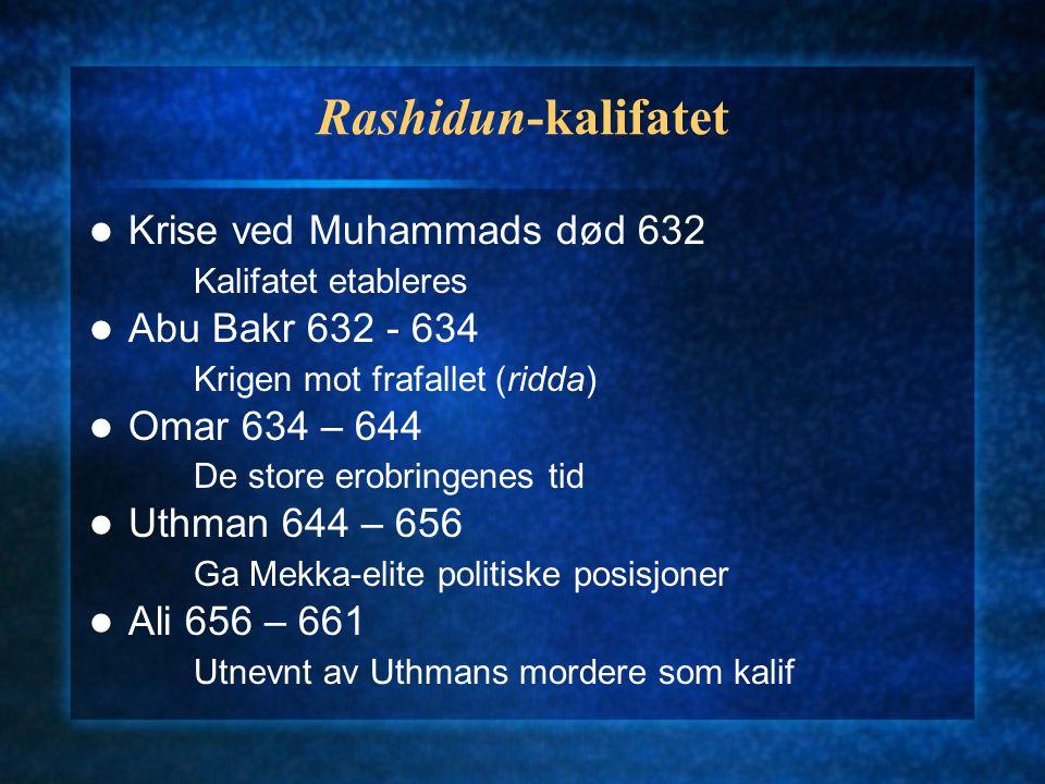 Rashidun-kalifatet Krise ved Muhammads død 632 Kalifatet etableres