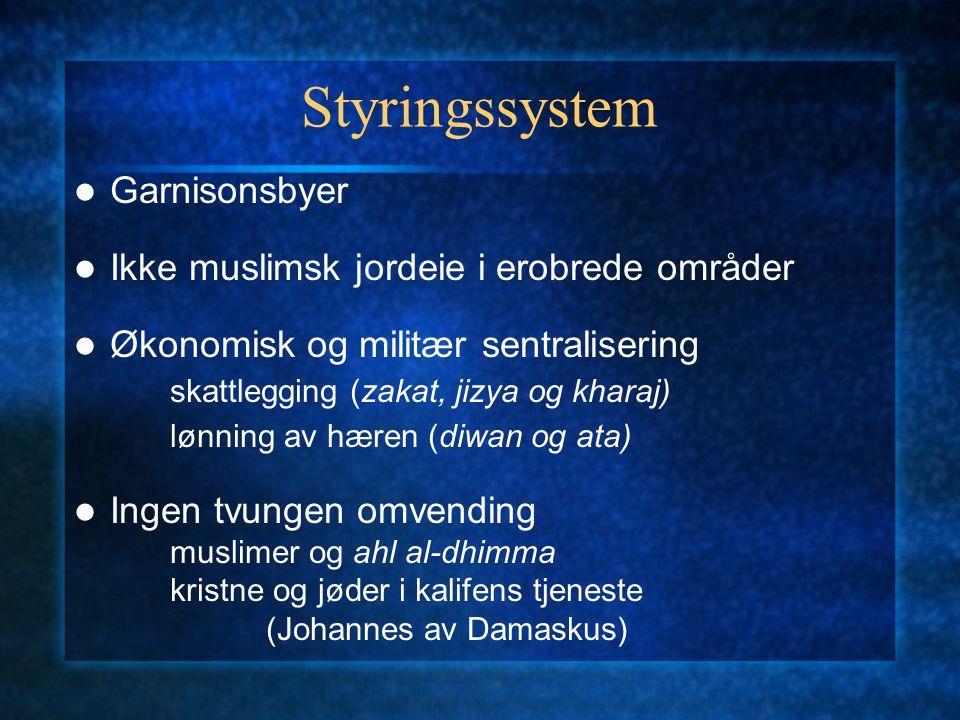 Styringssystem Garnisonsbyer Ikke muslimsk jordeie i erobrede områder