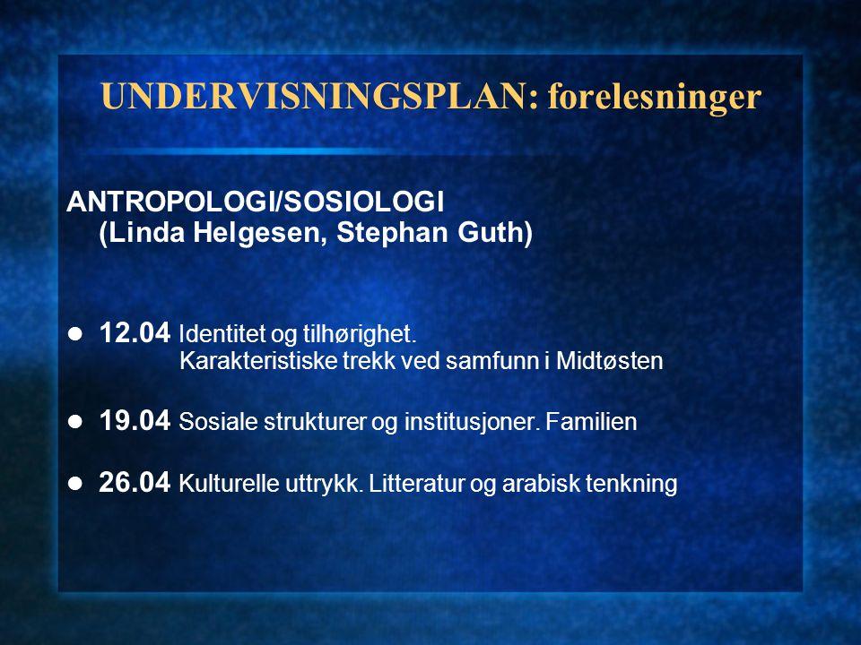 UNDERVISNINGSPLAN: forelesninger