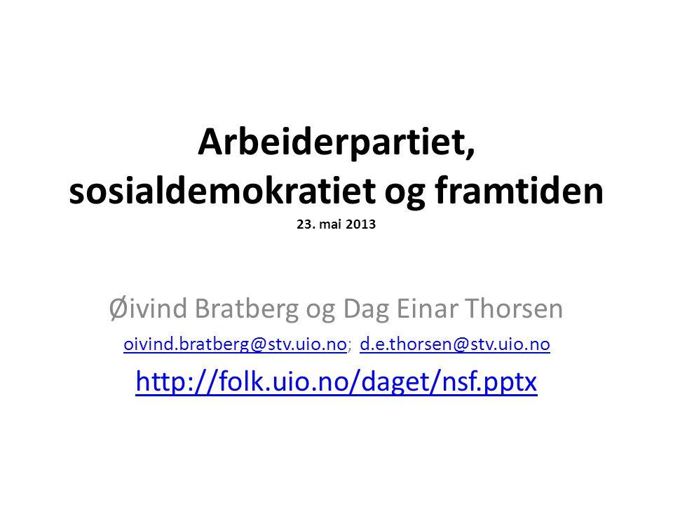 Arbeiderpartiet, sosialdemokratiet og framtiden 23. mai 2013