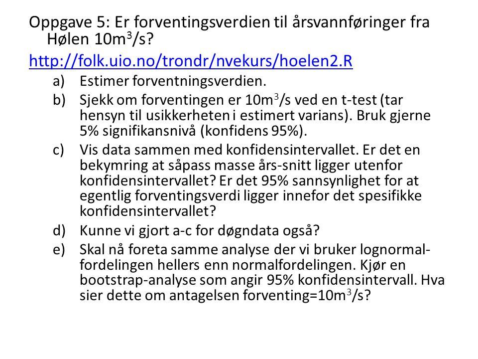 Oppgave 5: Er forventingsverdien til årsvannføringer fra Hølen 10m3/s