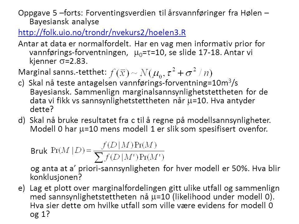Oppgave 5 –forts: Forventingsverdien til årsvannføringer fra Hølen – Bayesiansk analyse