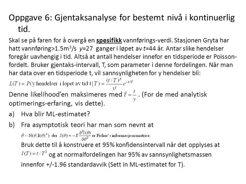 Oppgave 6: Gjentaksanalyse for bestemt nivå i kontinuerlig tid.