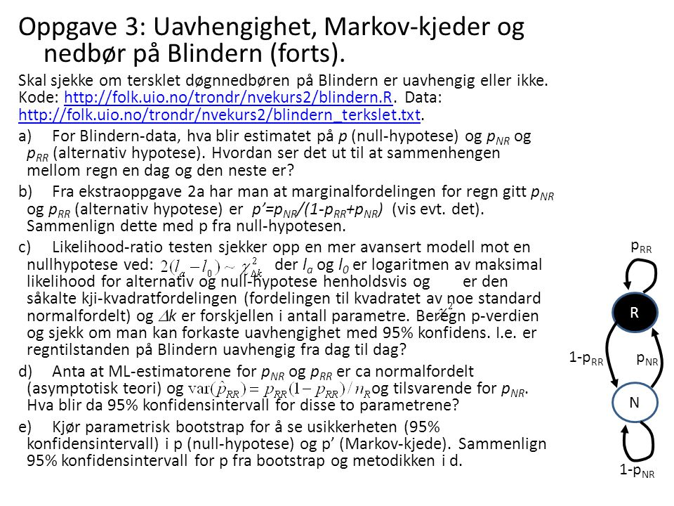 Oppgave 3: Uavhengighet, Markov-kjeder og nedbør på Blindern (forts).