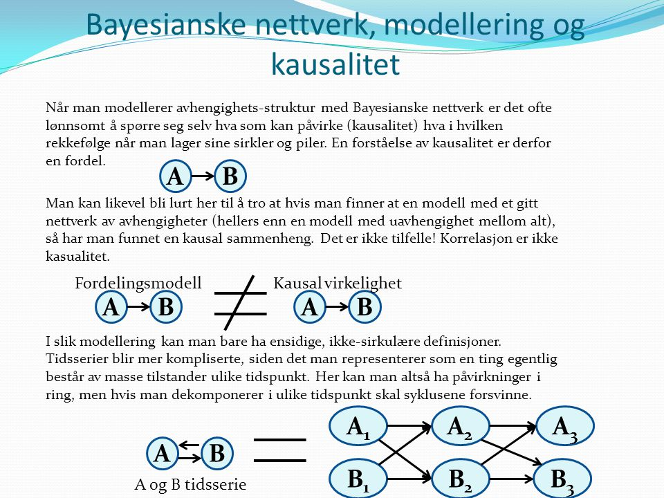 Bayesianske nettverk, modellering og kausalitet