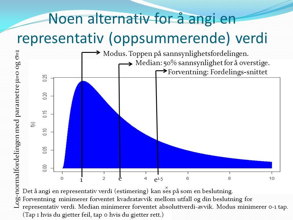 Noen alternativ for å angi en representativ (oppsummerende) verdi