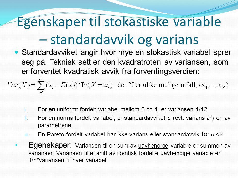 Egenskaper til stokastiske variable – standardavvik og varians