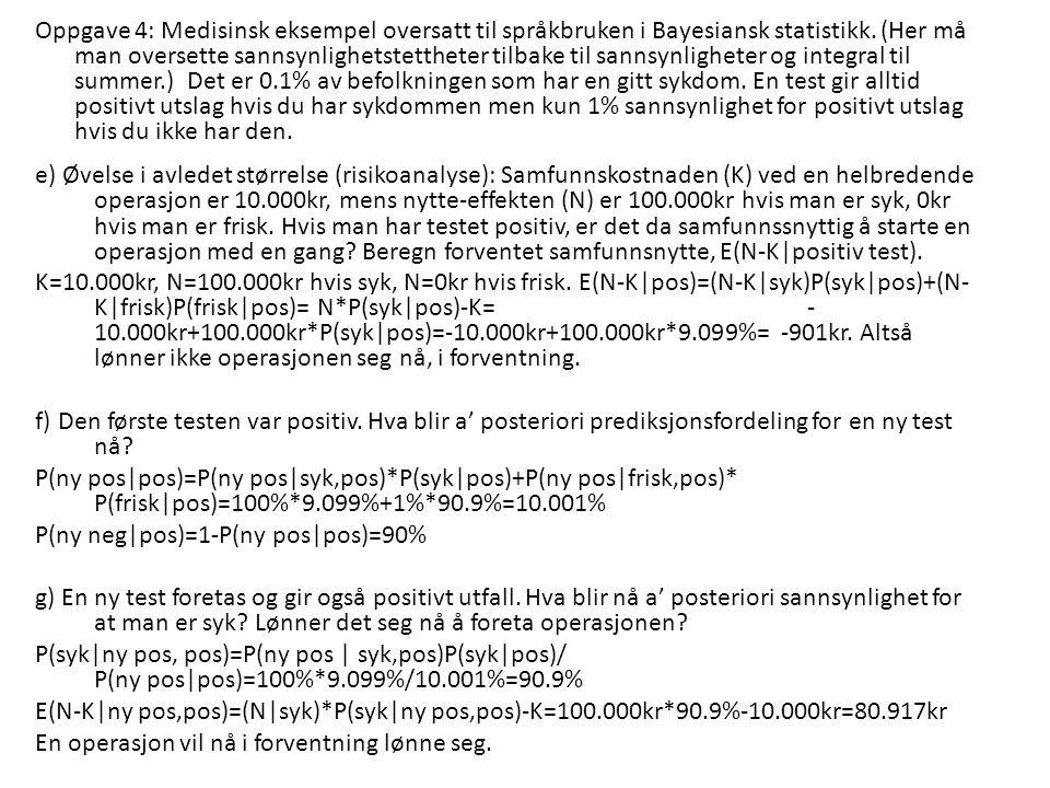 Oppgave 4: Medisinsk eksempel oversatt til språkbruken i Bayesiansk statistikk.