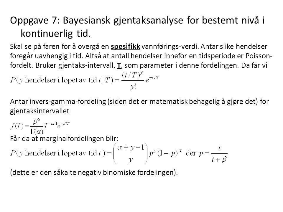 Oppgave 7: Bayesiansk gjentaksanalyse for bestemt nivå i kontinuerlig tid.