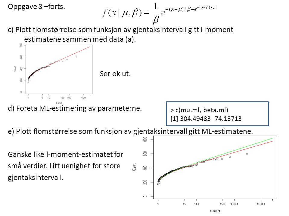 Oppgave 8 –forts. c) Plott flomstørrelse som funksjon av gjentaksintervall gitt l-moment-estimatene sammen med data (a). Ser ok ut. d) Foreta ML-estimering av parameterne. e) Plott flomstørrelse som funksjon av gjentaksintervall gitt ML-estimatene. Ganske like l-moment-estimatet for små verdier. Litt uenighet for store gjentaksintervall.