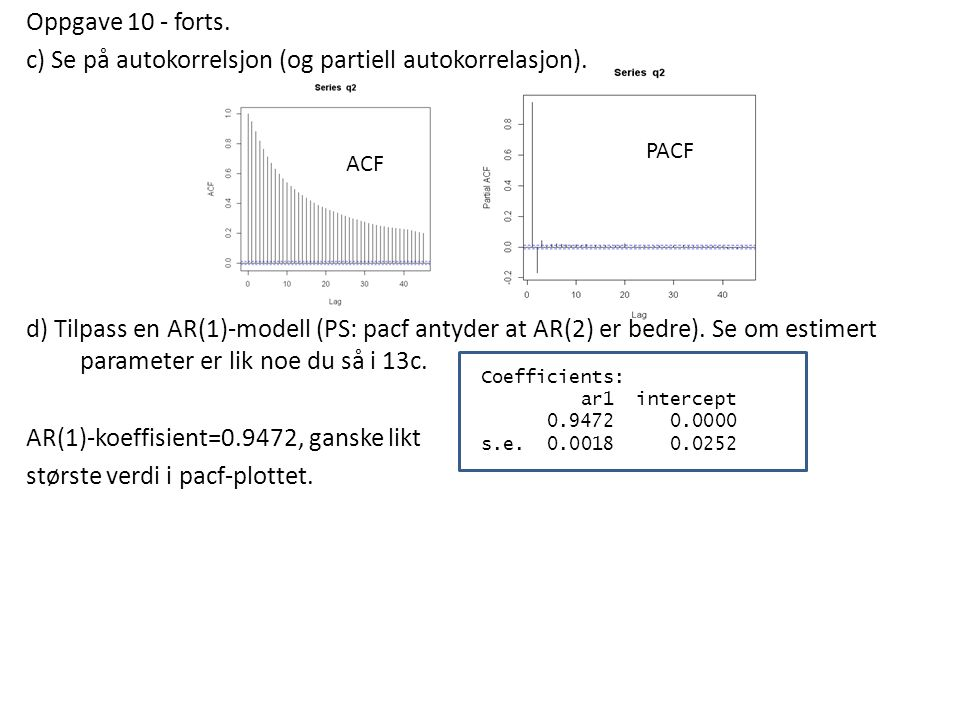 Oppgave 10 - forts. c) Se på autokorrelsjon (og partiell autokorrelasjon). d) Tilpass en AR(1)-modell (PS: pacf antyder at AR(2) er bedre). Se om estimert parameter er lik noe du så i 13c. AR(1)-koeffisient=0.9472, ganske likt største verdi i pacf-plottet.