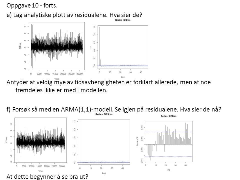 Oppgave 10 - forts. e) Lag analytiske plott av residualene.