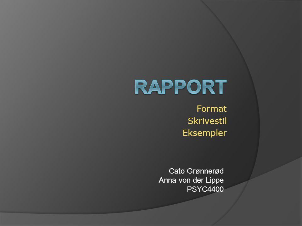 Format Skrivestil Eksempler
